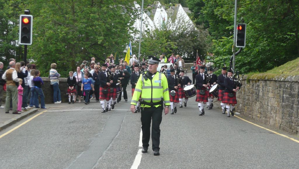 The procession crossing Turfholm Bridge