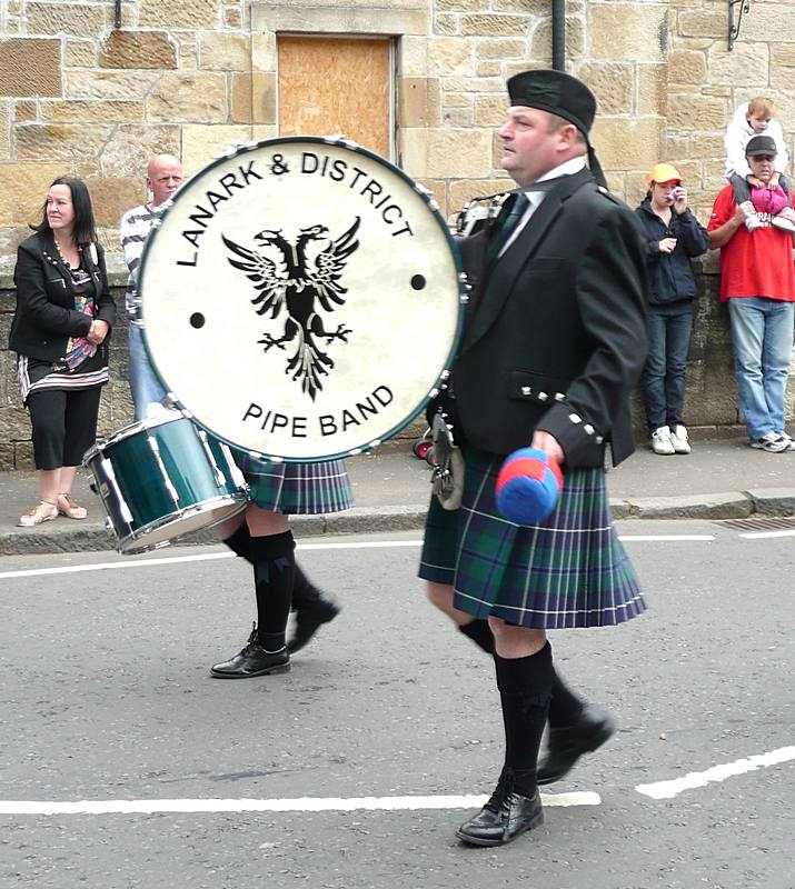 Bass Drummer in the second Lanark and District Pipe Band