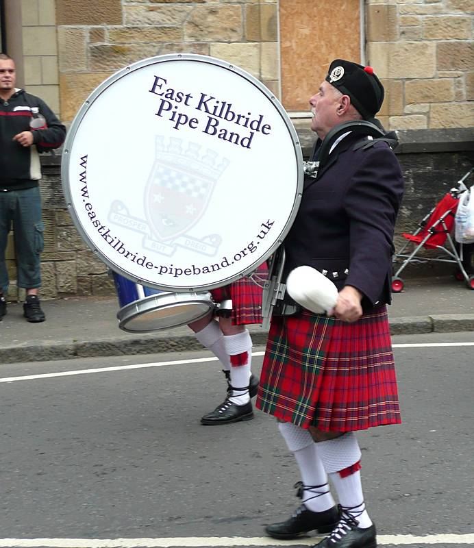Bass Drummer in the first East Kilbride Pipe Band