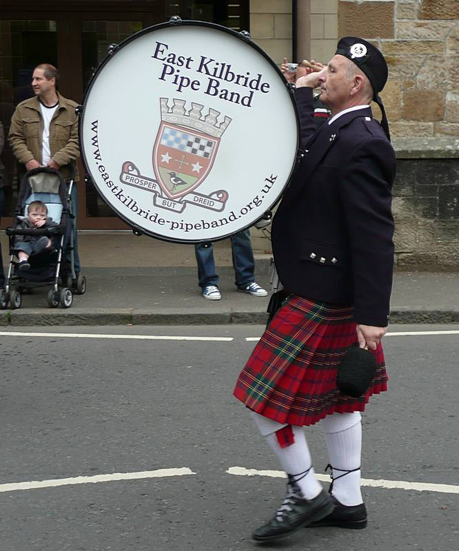 Bass Drummer in the second East Kilbride Pipe Band