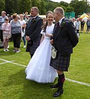 Tartan Queen with two Highland Chieftains