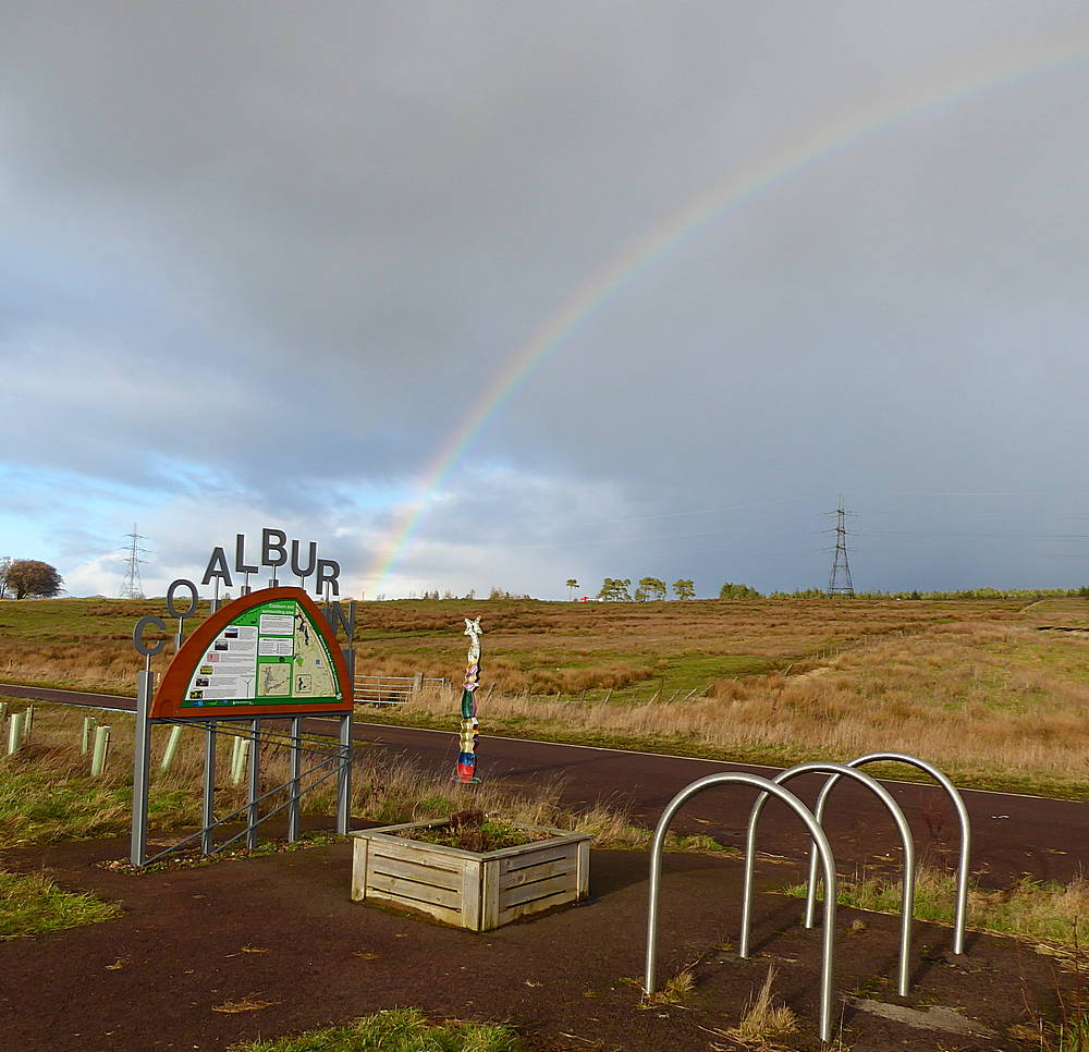 Rainbow and Information sign. 10th February 2019