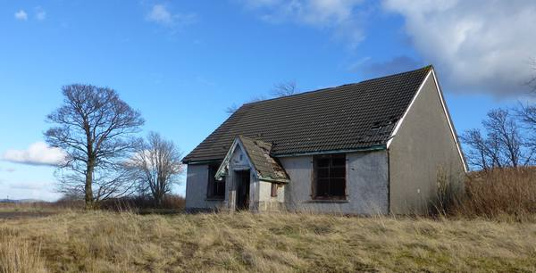 Derelict bungalow at Dalquhandy Opencast Mine Site, Coalburn