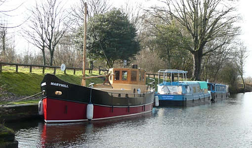 Boats on Forth and Clyde Canal near Kirkintilloch