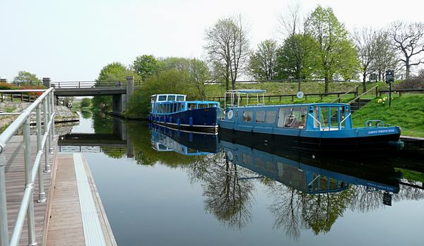 Boats on the Forth and Clyde Canal at The Stables, Kirkintilloch