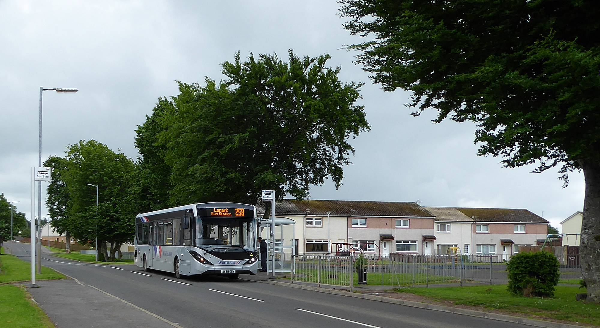258 Lanark bus in Balgray Road, Lesmahagow