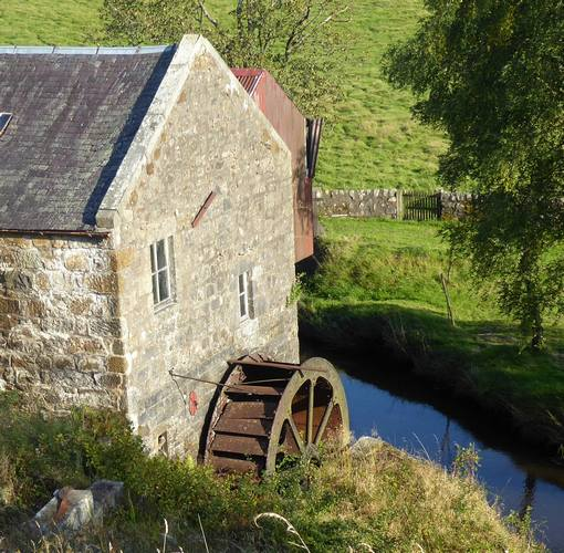Closer view of water wheel.