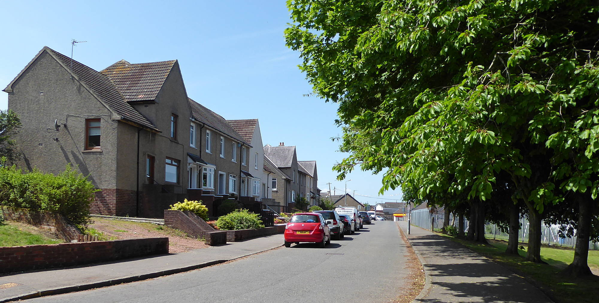 Last section of Burns Road between Scott Street and Strathaven Road