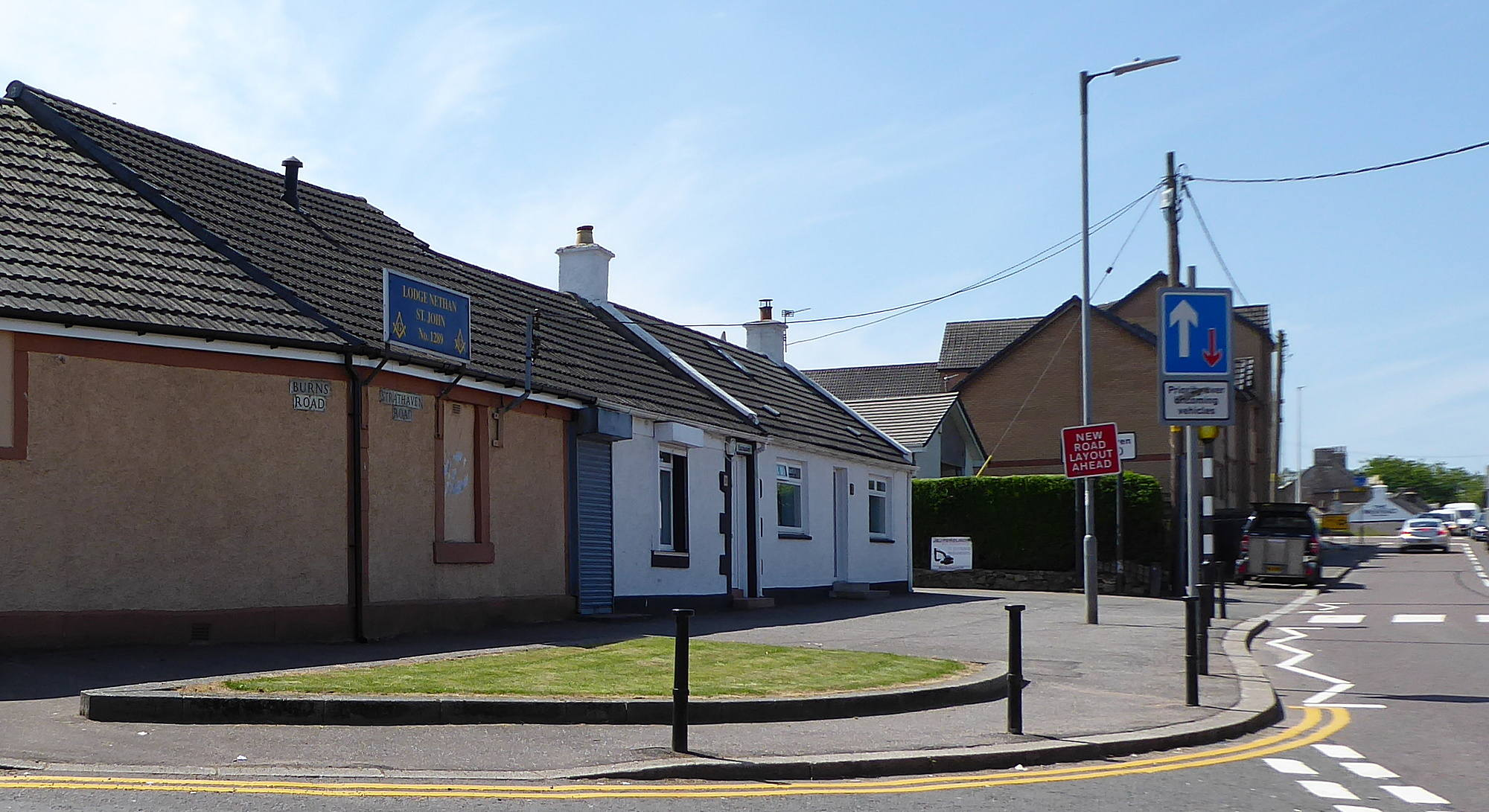 Junction of Burns Road with Strathaven Road . Lodge Nethan St. John.