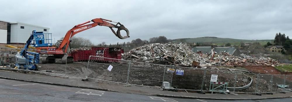 Sorting out all the rubble after demolition