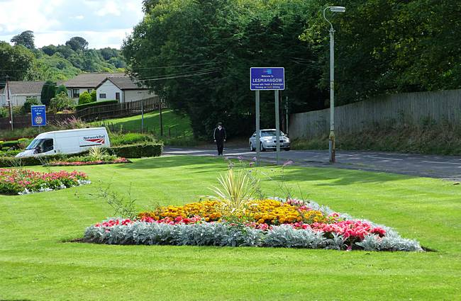 Flower beds at entrance to Lesmahagow